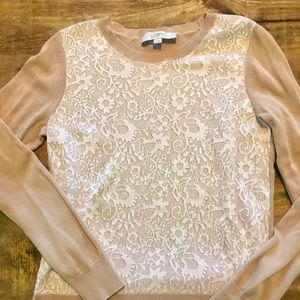 LOFT Lightweight Sweater with Faux Lace, Size S